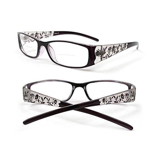 Reading Glasses Bifocal Floral Pattern Crystal Readers 100-400 (1.50, - Glass Floral Pattern