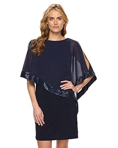 Minetom Mujeres Elegante Delgado Medio Manga Brillo Brillante De Lentejuelas Mini Vestido Del Cóctel Fiesta Color Sólido Bodycon Dress Azul