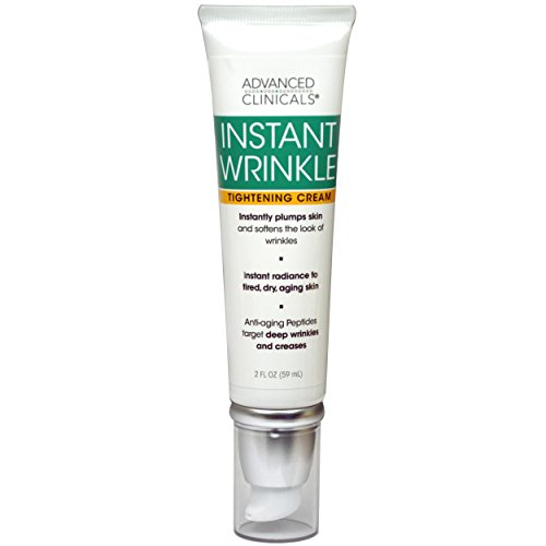 Advanced Clinicals Instant Wrinkle Tightening Cream. Targets and improves the look of sagging skin, dryness, aging, tired skin, wrinkles, and fine lines. Oat Extract, Vitamin E, and Aloe Vera. 2oz