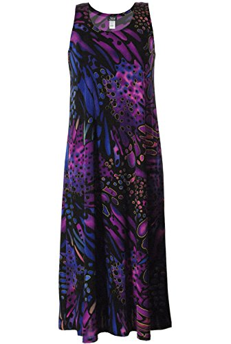 Jostar Stretchy Tank Long Dress with Sleeveless, Plus Sizes, Print (Abstract Design Dress)