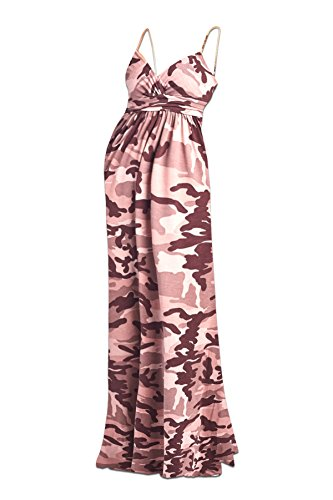 Beachcoco Women's Maternity Sweetheart Party Maxi Dress (L, Camouflage (Pink Camo Dress)