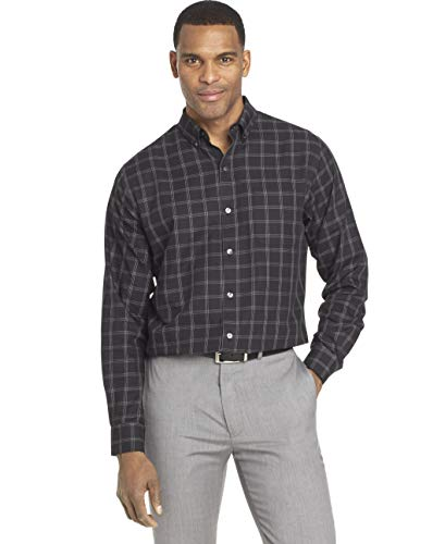 - Van Heusen Men's Wrinkle Free Twill Long Sleeve Button Down Shirt, Black Check, Small