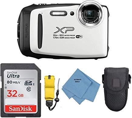 Fujifilm FinePix XP130 Digital Camera (White)+ Camera Floating Strap + 32GB Memory Card + Case + Ultimate Microfiber - Zoom 5x Design Lens Optical