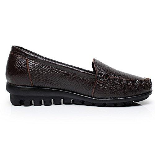 Comfity Flats Zapatos Mujeres Comodidad Natural Walking Flat Loafer Brown