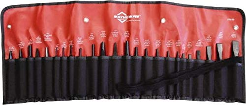 (Mayhew - Center, Pin, Prick & Solid Punch & Cape, Cold, Diamond Point & Half Round Nose Chisel Set, 24 Piece)