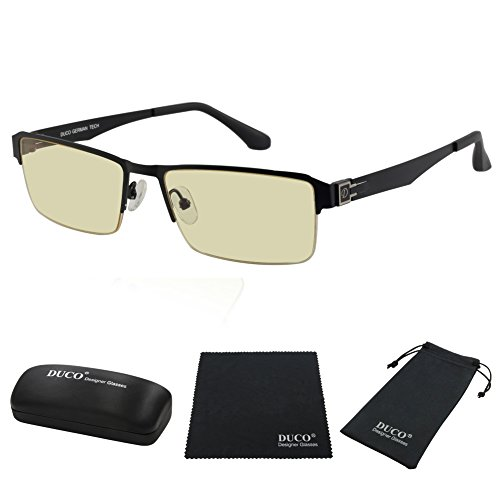 Duco Semi-rimless Ergonomic Advanced Computer Gaming Glasses with Amber Lens Tint - Sunglass Protection