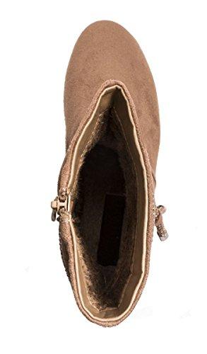 Elara - Botas plisadas Mujer caqui