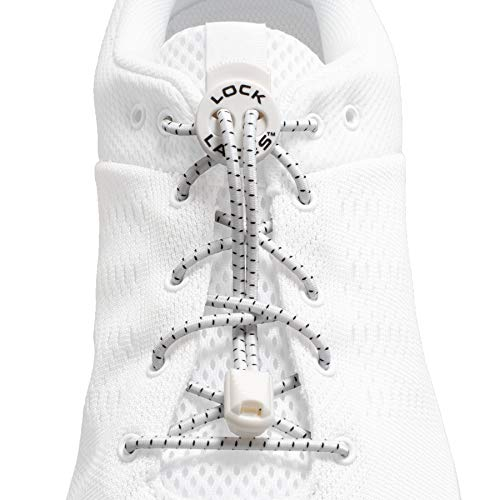 LOCK LACES (Elastic No Tie Shoelaces) (White, 48-Inch)