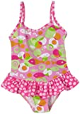 Flap Happy Little Girls'  Maillot Suit With Ruffle,Mod Fish,2