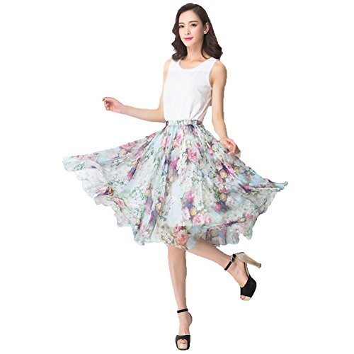 MINGXIN Gypsy / Bohemian Women's Printed Chiffon Pleated Knee-Long Skirt (Floral Pleated Skirt)