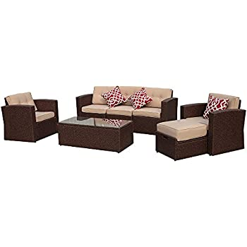 patioroma outdoor rattan sectional furniture set with beige seat and back cushions red throw pillows aluminum frame espresso brown pe wicker 7 pieces
