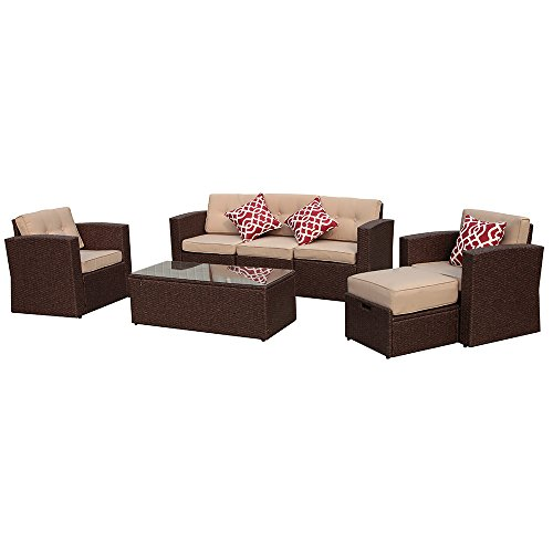 7 Pieces Outdoor Rattan Sectional Furniture Set with Beige Seat and Back Cushions, Red Throw Pillows, Aluminum Frame, Espresso Brown PE Wicker