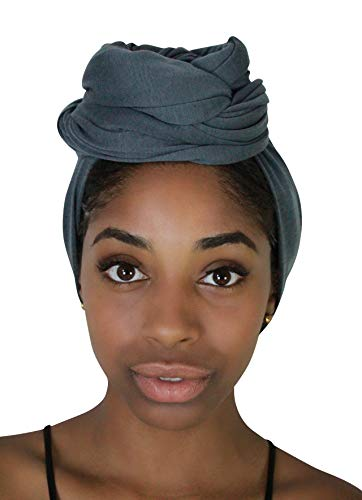 Rayna Josephine Solid Color Head Wrap -Stretch Long Hair Scarf Turban Tie (Smoky Gray)
