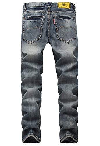 Los Pierna Nn Jeans Lavados Slim Colour Casuales Agujeros Rasgados De Apeados Pantalones Pantalones Joven Fit Vaqueros Mezclilla Hombres Recta De Uvx0t4w4