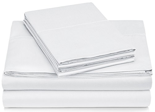 Pinzon 400 Thread Count Egyptian Cotton Sateen Hemstitch Sheet Set - Queen, White ()