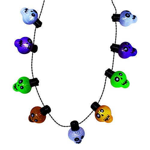 Light-up Halloween Skull Necklace | 6 Flashing Modes | Costume -