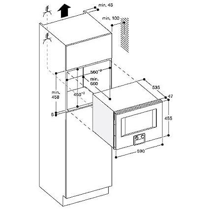 Gaggenau - Horno (integrado combinado a microondas BM 450 110 con bisagras a derecha acabado acero inoxidable de 60 cm con puerta se de cristal: Amazon.es: ...