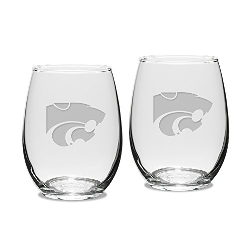 NCAA Kansas State Wildcats Adult Set of 2 - 15 oz Stemless Wine Glass Deep Etched Engraved, One Size, Clear