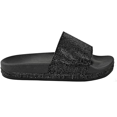 Fashion Thirsty Heelberry® Womens Ladies Flats Sliders Diamante Sparkly Slip On Sandals Summer Shoes Size Black / Diamante i1mw7IU