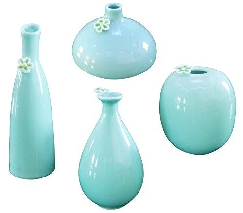 HeHe (Set of 4) Ceramic Vase, Mini Ceramic Flower Vase for Home Decoration, Wedding Centrepiece Table Décor & Restaurant, Hand-carved Vase - Lightcyan by HeHe
