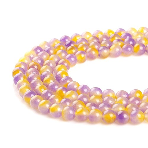 JARTC Natural Purple Yellow Crystal Round Loose Beads for Jewelry Making DIY Bracelet Necklace (10mm)