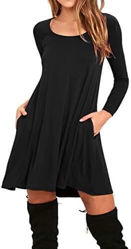 AUSELILY Women's Pockets Casual Swing T-shirt Dresses
