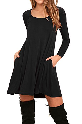 AUSELILY Women's Round Neck Long Sleeve A-line Plain Simple T-shirt Swing Dress With Pockets (S, Long sleeve-Black)