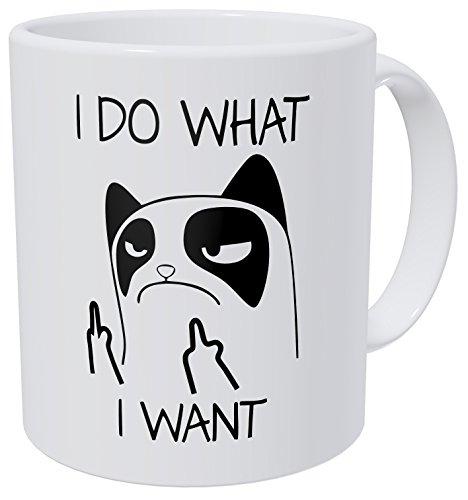 Kaimebien Cat I Do What I Want Middle Fingers 11 Ounces Funny Coffee Mug