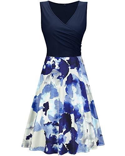 KILIG Women's V Neck Sleeveless Patchwork Floral Print Summer Casual Elegant Midi Dress(Floral-14, M)
