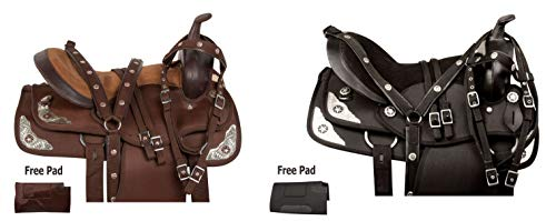 (AceRugs Adult Youth Kids Western Light Weight Silver Show Texas Star Horse Saddle TACK Set Headstall REINS Breast Collar PAD (Brown Silver, 16))