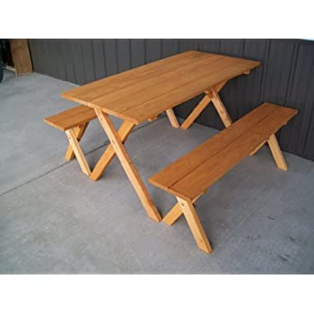 5 foot economy outdoor picnic table with 2 benches amish made usa cedar stain