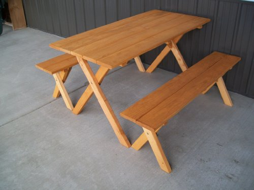 5 Foot Economy Outdoor Picnic Table with 2 Benches Amish Made USA- Cedar Stain