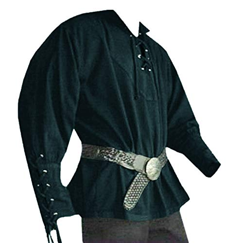 Karlywindow Men's Medieval Lace Up Pirate Mercenary Scottish Wide Cuff Shirt Costume -