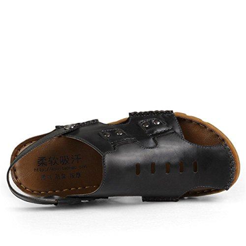 A Trekking Da Uomo In Vista Black Da Esterni Giallo Nero Per Sandali Con Pelle Metallo In Punta In Decorazione Sandali Scarpe Pelle LYJBIK wOTtO
