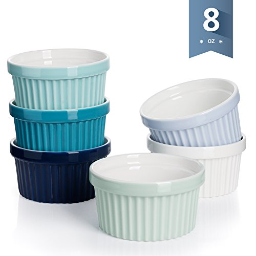 Sweese 5112 Porcelain Souffle Dishes, Ramekins - 8 Ounce for Souffle, Creme Brulee and Ice Cream - Set of 6, Cold Assorted - Dish Porcelain Souffle