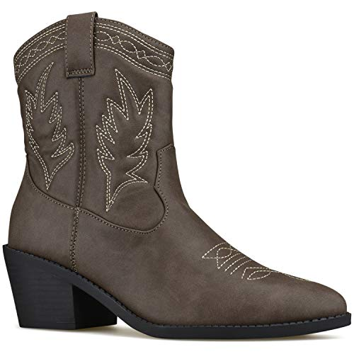 Western Taupe Boots High Standard Cowboy Premier Tabs Pointed Pull On Toe Knee P Dk q57vFw1