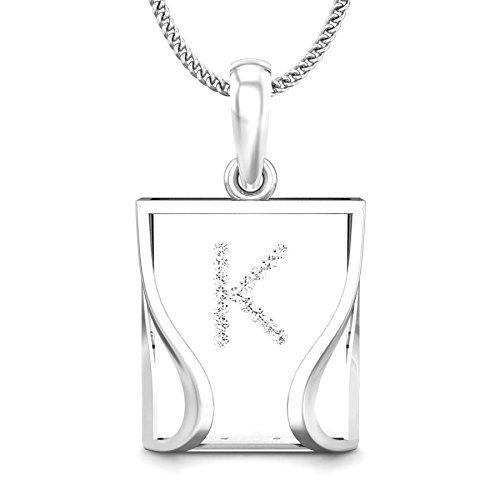 Candere 0.05 ctw Round Cut Diamond 18K White Gold Initial K Pendant (IGI Certified, F-G Color, VVS Clarity) ()