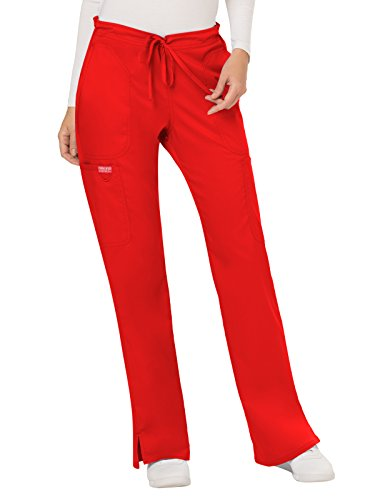(WW Revolution by Cherokee Women's Mid Rise Moderate Flare Drawstring Pant Petite, Red, XX-Small)