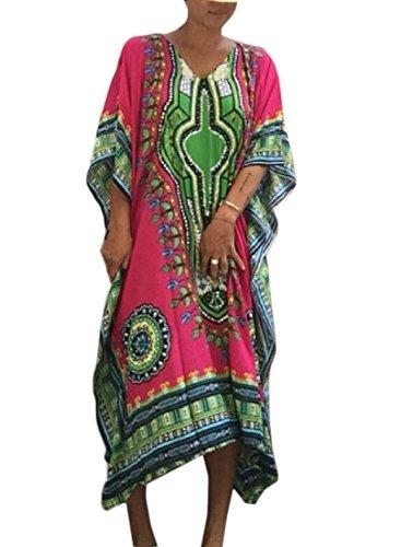 Coolred-femmes De Style Folk Manches Chauve-souris À La Palangre Moitié Robe À Manches Rose Rouge