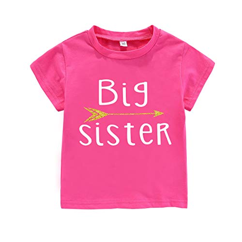 WINZIK Little Baby Girls Kids Toddlers Outfits Big Sister Print T-Shirt Pullover Tee Tops Clothes Costume Gift (3-4 Years, Big Sister-Hot Pink)