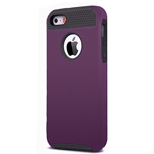 iPhone 5s Case,iPhone SE Case,iPhone 5 Case,by Ailun,Rubber Oil Non-Slip Matte Coating,Soft TPU Bumper&Hard Shell Solid PC Back,Shock-Absorption&Anti-Scratch Hybrid Dual-Layer Slim Cover[Purple] (Solid Purple Rubber)