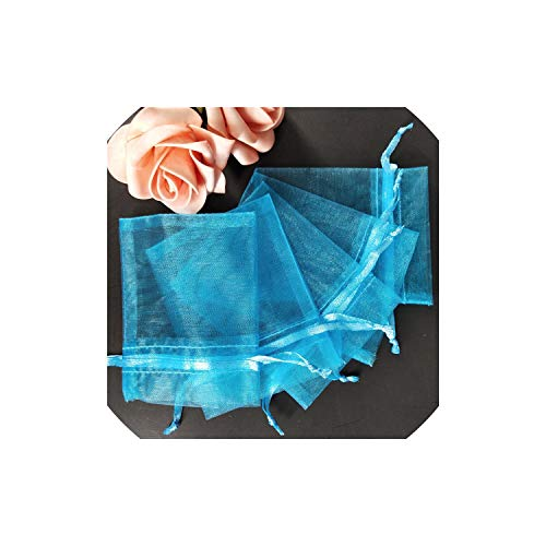- 100Pcs Jewelry Bags Packing Drawable Organza Bags 7X9 9X12 10X15 13X18 17X23Cm Gift Bags Sachet Organza Wedding/Communion Deco,Lake Blue,15X20Cm