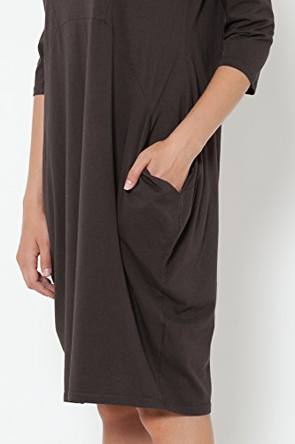 TANTRA Asymetric Dress with Pockets, Vestido Casual para Mujer Marrón (Brown)