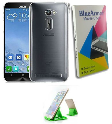 huge selection of 28ad4 3222d BlueArmor Soft Silicone Back Cover Case For Asus Zenfone Go 5.0 LTE T500 -  Transparent & Mobile Stand