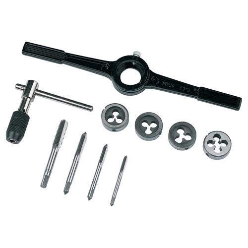 10 Piece 4mm 5mm 6mm 8mm Tap & Die Set Metric - Wrench, Die Holder -