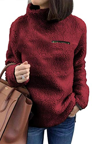 (Long Sleeve Sweaters for Women Pullover Jacket Warm Top Casual Sweatshirt Fleece Solid Small)