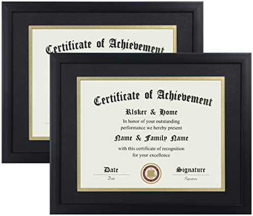 ELSKER&HOME 8.5×11 Certificate Frame - Classic Black Color Frame - Displays Displomas 8.5×11 Inch with Mat - 11×14 Inch Without Mat - for Document/Photo(Two Pack - Matte Black with Gold Rim)