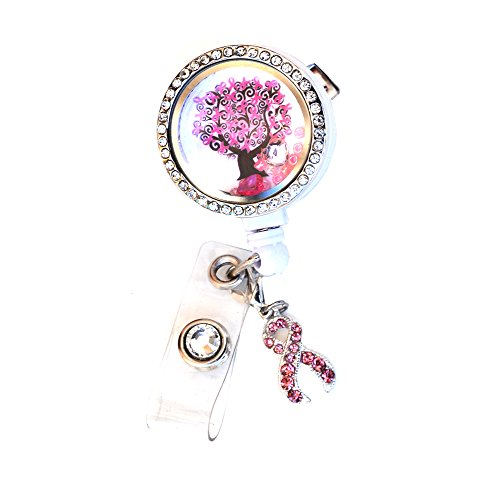 (Awareness Ribbons Memory Locket Floating Charms Retractable Reel ID Badge Holder (Pink Ribbon Tree Locket Badge))