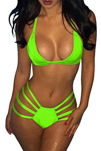 Green Women's Cutout Brazilian Bandage Neck Triangle Halter Viottis Set Bikini Swimsuit wvdRHqR