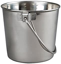 Advance Pet Products Heavy Stainless Steel Round Bucket, 6-Quart